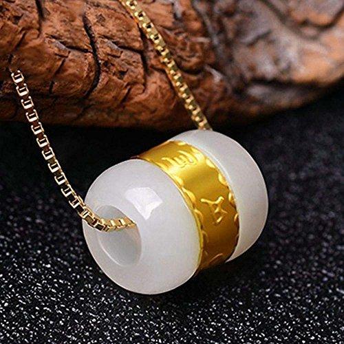 Axiba Straße Tong Jade Mark sechs Worte Gold Anhänger Perle Halskette Nephrit Schmuck Das schönste Geschenk