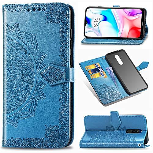 Funda para Xiaomi Redmi 8, Carcasa Libro con Tapa Flip Case Antigolpes Golpes Cartera PU Cuero Suave Soporte con Correa Cordel - Mandala Azul