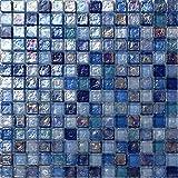 Glas Mosaik Fliesen Matte in Irisierence Blau, Lila und mit violettem Perlmutt Schimmer gehammertes Glas (MT0109)