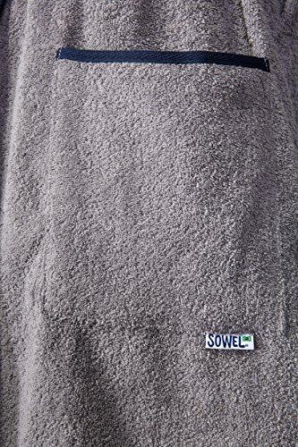 Sowel Bademantel Premium Extra Lang aus 100% Baumwolle mit Kapuze und Seitentaschen Grau/Navy