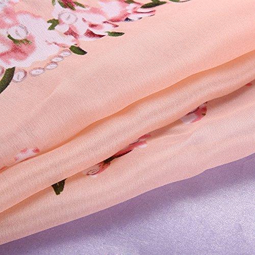 La Cabina Femme Vintage Foulard Long Châle Écharpe Cache Col en Soie Motif Fleurs pour Printemps Hiver Rose