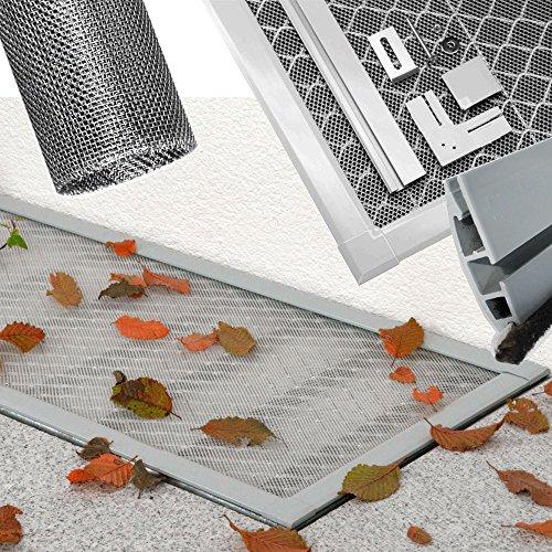 Lichtschachtabdeckung Comfort 115 x 60 cm Kellerschachtabdeckung ALU Rahmen + Edelstahl Gewebe individuell kürzbares Schutzgitter, einfache Montage ohne Bohren, Dichtungsbürste