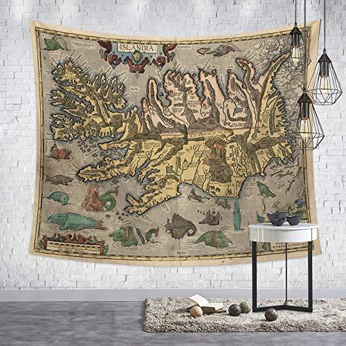 Tapestry Wall Hanging,Nordic Moderne Psychedelic Hippie Persönlichkeit Retro Style Khaki Weltkarte Drucken Fabric Wall Tuch Für Zu Hause Wohnzimmer Hintergrund Wandteppich Strand Decke, 150 X 200 Cm -