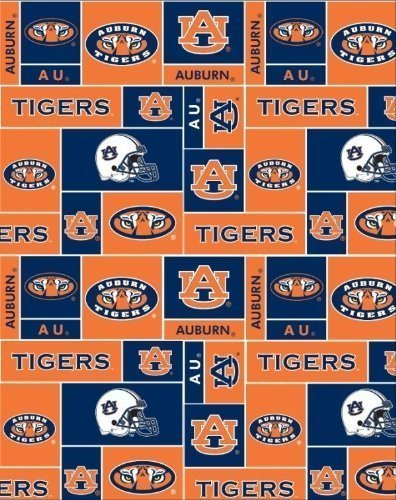 Auburn University Tigers Allover Polyester Fleece Fabric, Burnt Orange & Navy Blue - Sold By the Yard by Sykel