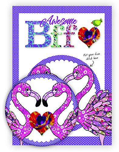 Impresionante BFF tarjeta de felicitación y posavasos–regalo y tarjeta en uno–la manera perfecta para decir tu mejor amigo cómo especial son