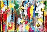 GUMA Magneticum 1608 Magnettafel Holz-Wand Kunterbunt - 60x40 cm - Pinnwand mit Motiv Smiley Happy Faces