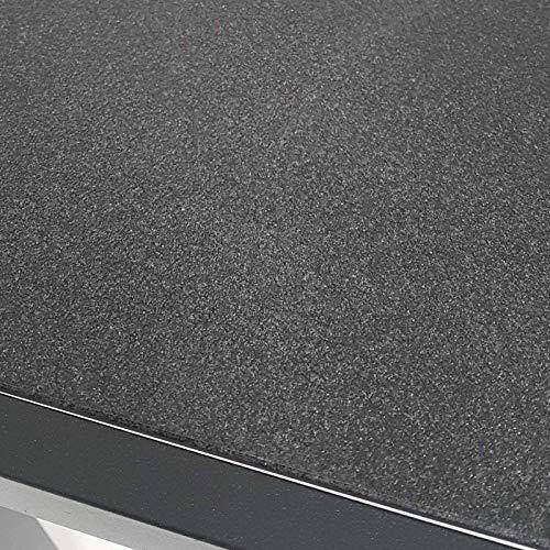 colourliving Gartentisch Aluminium 80×80 cm Steinoptik Spraystone schwarz mit Glasplatte Balkontisch Terrassentisch