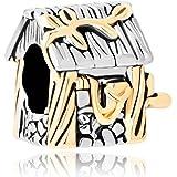 """Uniqueen, ciondolo a forma di casa con scritta in lingua inglese """"Family"""", adatto a bracciali con charm"""