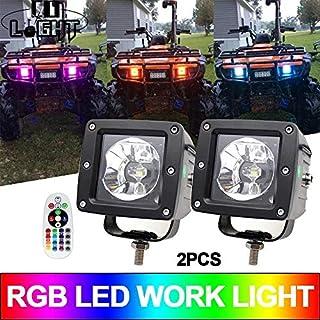 ZHUOYUE 2Pcs 3 Zoll 30W LED Arbeitslichtleiste RGB Halo Farbänderung Jagen LED Blinkende Arbeitslampe für Offroad LKW SUV ATV Traktor 12 V
