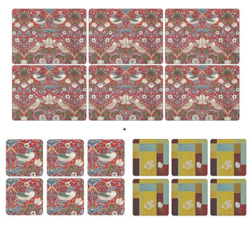 pimpernel-strawberry-thief-rojo-6-manteles-individuales-6-posavasos-6-libre-bonus-plymouth-posavasos