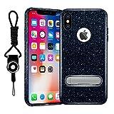 iPhone X Fall, hanlesi Shiny Gradient Bling Cover schützende Hülle mit Halterung für Apple iphonex Cool Farbverlauf Schwarz mit Standfunktion für iPhone 10, Schwarz