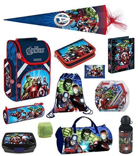 Avengers Schulranzen PL 16tlg. Set mit Dose/Flasche Sporttasche Federmappe gefüllt Schultüte 85cm HULK THOR