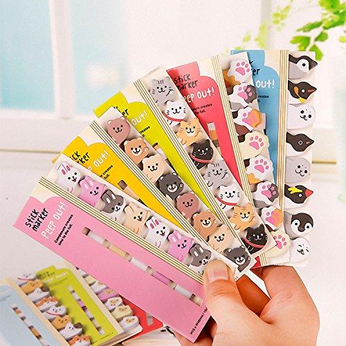SODIAL kawaii DIY memo pad appiccicoso Nota di carta da parati del fumetto animale orso cane maiale gatto pinguino adesivo materiale scolastico ufficio (confezione da 8)