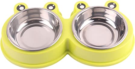 SRI Stainless Steel Double Food and Water Bowl Safety Healthy Dish for Cat/Puppy, X-Small (SRI-PA-LL-2221-GRE, Green)