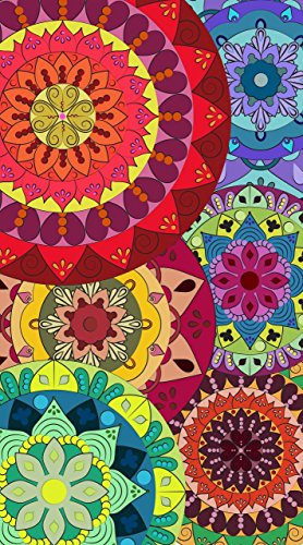 Asditex Toalla Playa Microfibra Estampada - 100 x 180 cm - Mandalas Multicolor