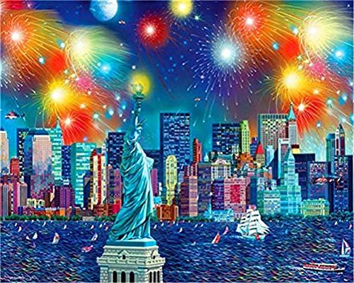 ssymfgzt Malen Nach Zahlen Geeignet Für Erwachsene Anfänger Kinderanzüge - Kinder Bettwäsche Leinwand - Regenbogen Feuerwerk Stadtbild (Mit Rahmen) -
