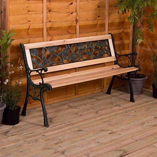 Gartenbank, Rosen Design 3 Sitzer Außenbereich Vorgarten Möbel Möbelstück Sitzmöglichkeiten...