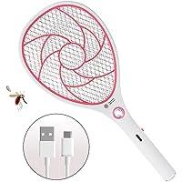 ZOMAKE Elektrische Fliegenklatsche Fliegenfänger Moskito Zapper, Insekten Mörder - USB Wiederaufladbar - 3000 Volt - Doppelte Schichten Mesh Schutz