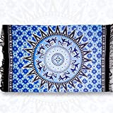 Rectangle Blue Sun Flower : Rectangle Beach Towel Tassel Towel - GreForest Thin Rayon Cotton Tassel Towels Blue Flower Beach Towels Eye-catching Beach / Daily Wrap Shawl For Decoration, Beach Leisure, Picnic Mat, Tablecloth