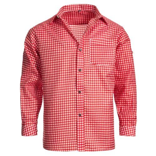 Herren Set Lederhose Dunkelbraun und Trachtenhemd Rot Weiß Kariert Gr. Hose 54 Hemd 2XL - 2