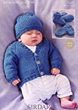 Sirdar Snuggly DK Knitting Pattern 1365 Cardigan, Hat, Mittens and Bootees