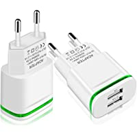 LUOATIP Chargeur Prise USB Secteur, 2-Pack 2.1A 5V 2 Ports Adaptateur Secteur Universel LED Replacement for iPhone 11 XR…