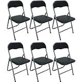 Savino Fiorenzo 6 sedie Sedia Poltrona Pieghevole Nera in Ferro e Metallo Imbottita per Sala Attesa Cucina Salotto…