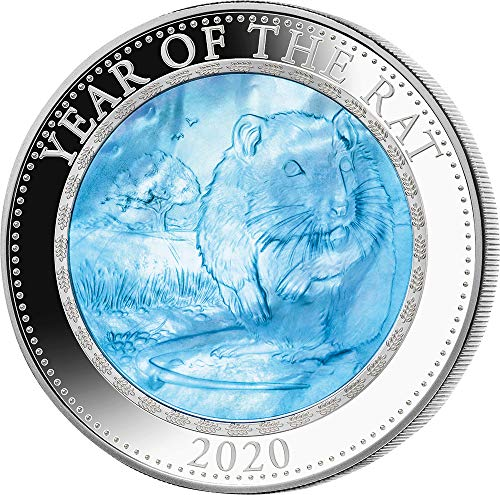 Power Coin Rat Ratte Mother of Pearl Lunar Year Series 5 Oz Silber Münze 25$ Cook Islands 2020
