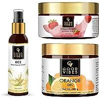 Good Vibes Rice Brightening Toner (120 ml), Strawberry Reviving Face Scrub (50 g) & Orange Face Gel (100 g) Combo