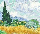 Scialle sciarpa Wrap scialli colleghe donna moda sciarpe splendidi colori testa morbida sciarpe neve tessuto asciugamano quadrato opere Van Gogh Pattern seta tessuta Snow Party Sciarpa Sciarpa, il Cipresso