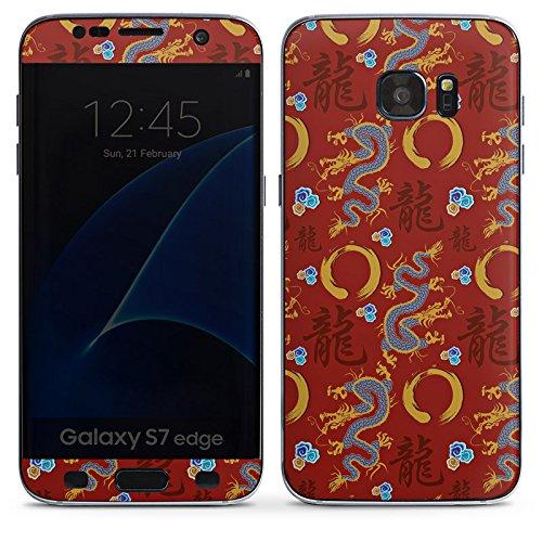 DeinDesign Samsung Galaxy S7 Edge Folie Skin Sticker aus Vinyl-Folie Aufkleber China Drachen Dragons