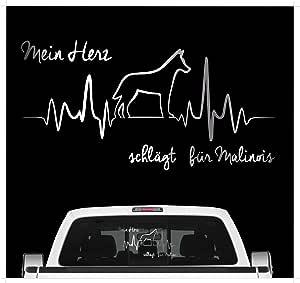 Siviwonder Malinois Belgian Mali Aufkleber Auto Herz Heartbeat Hundeaufkleber Hunde Folie Farbe Silber Größe 20cm Auto