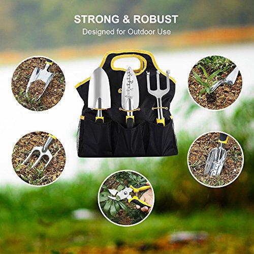 Strunmenti Attrezzi, Set da Giardino,Garden Tool set 6 Utensili in Lega di Alluminio con Manici Ergonomici,con un Durevole Jean Tessuto Borsa - 7