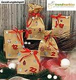 trendmarkt24 Advents-Kalender Weihnachten Zum befüllen ★ 24 Papier-Tüten-Kalender 10x7x26 cm Braun Sticker + 1 Satinband Rot ✓ basteln DIY Dekoration Deko ✓ Grund-Schule Kinder-Garten 623320