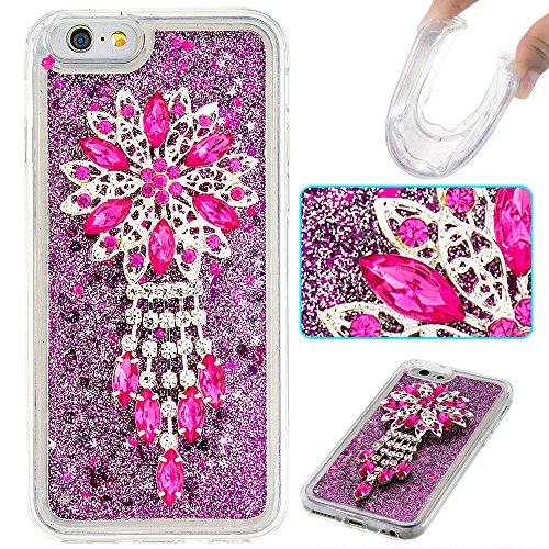 Case iPhone 6 / 6S 3D Bling Diamant Design Coque, Sunroyal Glitter Bling Bling Dual Layer en Soft TPU Silicone Housse Transparent Clair Back Cover Strass Cristal Protecteur Étui Paillettes Flottant Li A-07
