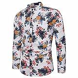 Camisas Hombre Manga Larga Estampadas AIMEE7 Camisas Hombre Elegantes Manga Larga Camisas Hombre Hipster (M, Blanco)