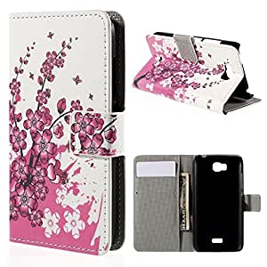 Unique Patterned Design Case Flip Cover For Huawei Honor Bee Y541 With Wallet Stand -Plum Blossom