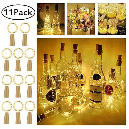 LED Flaschen-Licht,【11 Stück】20 LEDs 2M Kupferdraht Lichterkette Weinflasche Lichter mit Kork,LED Lichterketten Stimmungslichter Flasche DIY Deko für Party Weihnachten, Hochzeit oder Stimmung Lichter -