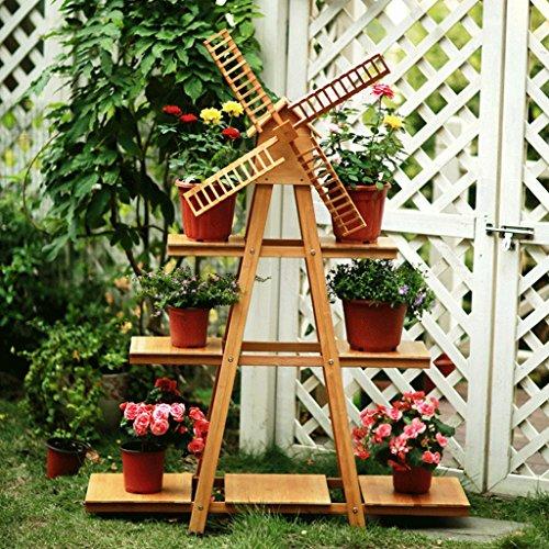 American Pastoral Creative Windmill Multi-couche solide bois fleur supports, intérieur et extérieur fleur Racks, simple salon balcon Landing fleur Racks, présentoir, 100 * 136cm (Color : Wood color)