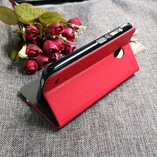 Wkae Case Cover Demin pattern Strisce colorate elegante in pelle PU di stile TPU gomma coperchio interno con slot per schede di credito / Stand per Vodafone Smart Prime 6 ( Color : Dark Blue , Size :  Red