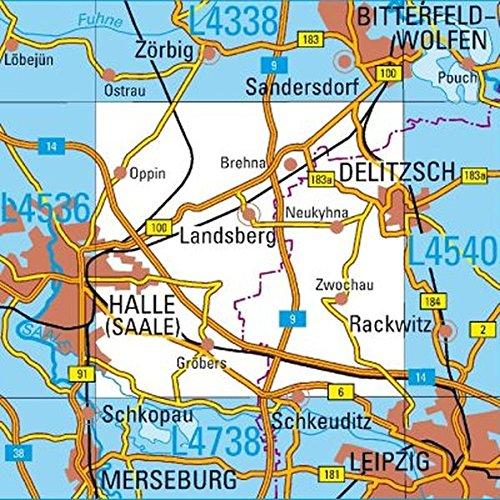 L4538 Landsberg Topopgraphische Karte 1:50000: DTK50 Sachsen-Anhalt (Topographische Karte 1:50000 / DTK50 Sachsen-Anhalt)