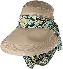 Phenovo Women Sun Hat Face Protective Anti-UV Wide Brim Visor Foldable Cap Khaki