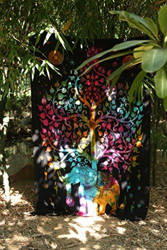 urbancharm- Reichtum Elefant Tapisserie, unter Baum des Lebens, viel Glück indischen Hippie Wandbehang/Schlafsaal, Trennwand, Picknick Decke, Strand Decke Tisch Tuch aus rawyalcrafts