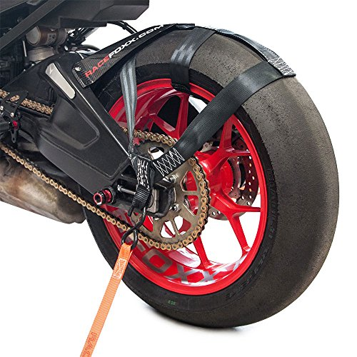 RACEFOXX Hinterrad Abspanngurt, Zurrgurt, Spanngurt, Transportsicherung Gurt für Hinterrad. Hinterreifen, Motorrad, Schwarz