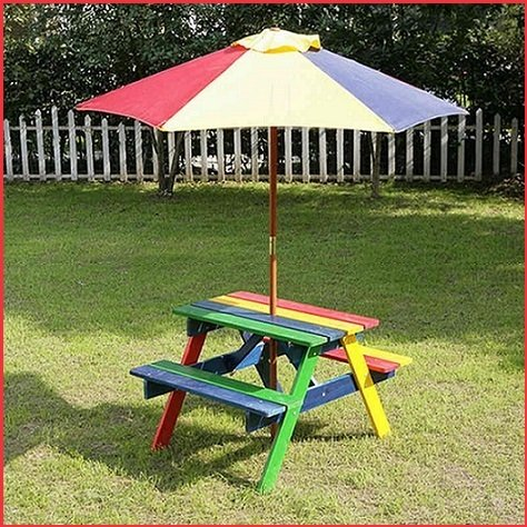 Tavolo in legno con ombrellone, per picnic, da giardino, gazebo