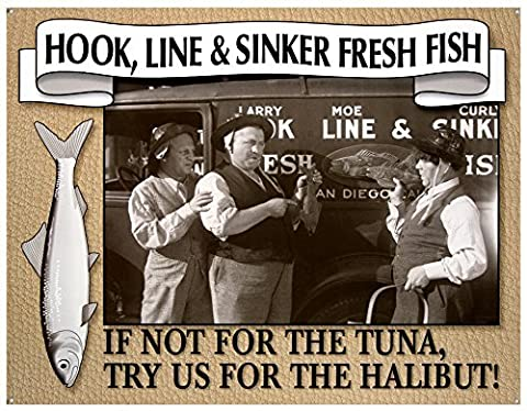 The Three Stooges - Fresh Fish Tin Sign 16W x 12.75 by Poster Discount