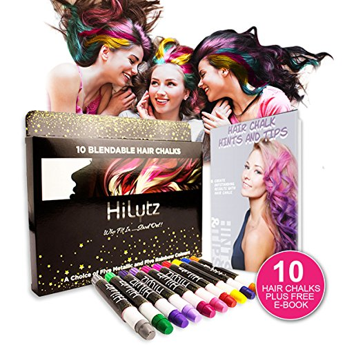 Hilytz Face Paint und Hair Chalk Party Make Up Set und 3 Glitzer, ein Kamm + Ebook, 10 Farben