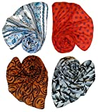 #4: Letz Dezine Printed Poly Cotton Set of four mullticoloured stoles; scarf and stoles for women