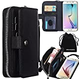 For Samsung Galaxy S6 G9200, DRUnKQUEEn (TM) 2 in 1 [Separable Megnetic] Back Cover [Zipper Holder] Flip PU Leather Wallet Case Black (Not for S6 Edge)