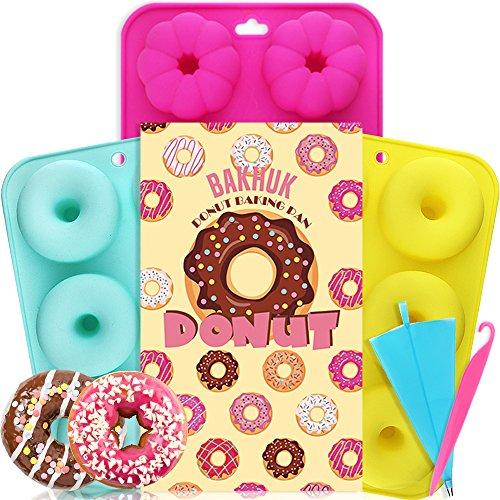 APLANET 3Donut Backform, antihaft-Silikon Formen, rund und Blume Donuts/Kuchen Formen